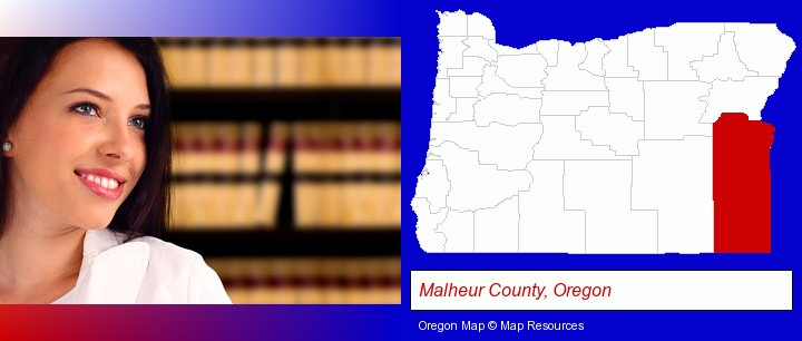 a young, female attorney in a law library; Malheur County, Oregon highlighted in red on a map