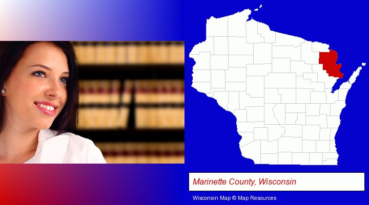 a young, female attorney in a law library; Marinette County, Wisconsin highlighted in red on a map