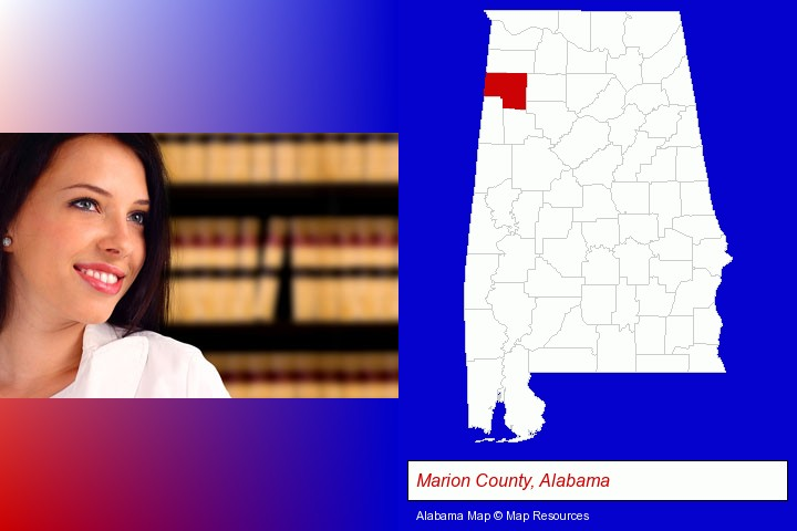 a young, female attorney in a law library; Marion County, Alabama highlighted in red on a map