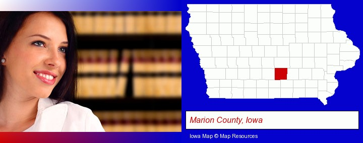 a young, female attorney in a law library; Marion County, Iowa highlighted in red on a map
