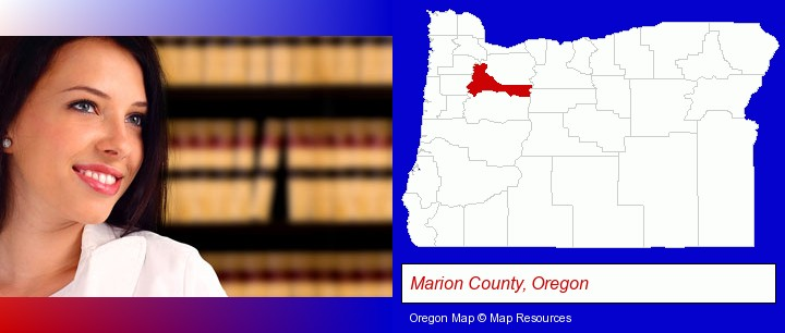 a young, female attorney in a law library; Marion County, Oregon highlighted in red on a map