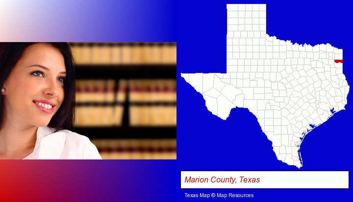 a young, female attorney in a law library; Marion County, Texas highlighted in red on a map
