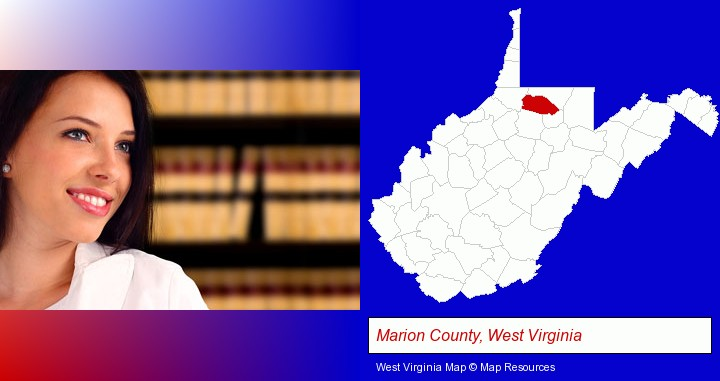 a young, female attorney in a law library; Marion County, West Virginia highlighted in red on a map