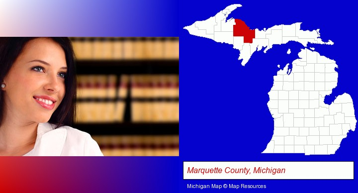 a young, female attorney in a law library; Marquette County, Michigan highlighted in red on a map