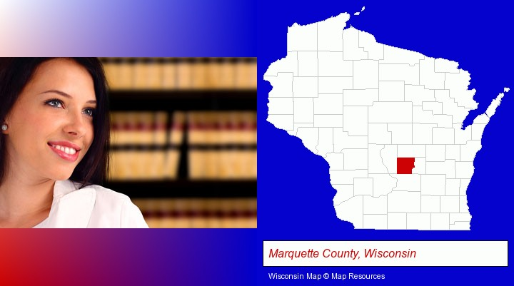 a young, female attorney in a law library; Marquette County, Wisconsin highlighted in red on a map