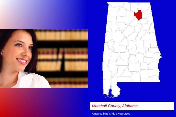 a young, female attorney in a law library; Marshall County, Alabama highlighted in red on a map