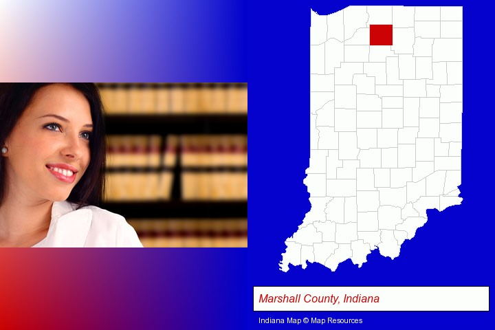 a young, female attorney in a law library; Marshall County, Indiana highlighted in red on a map