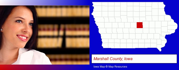 a young, female attorney in a law library; Marshall County, Iowa highlighted in red on a map