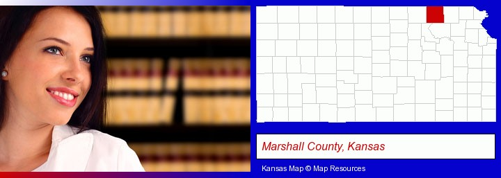 a young, female attorney in a law library; Marshall County, Kansas highlighted in red on a map