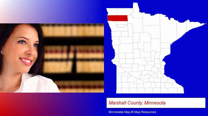 a young, female attorney in a law library; Marshall County, Minnesota highlighted in red on a map