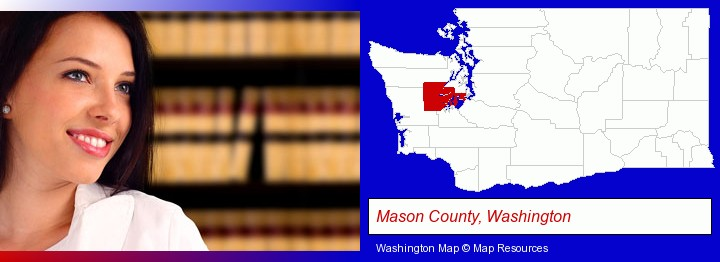 a young, female attorney in a law library; Mason County, Washington highlighted in red on a map