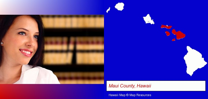 a young, female attorney in a law library; Maui County, Hawaii highlighted in red on a map