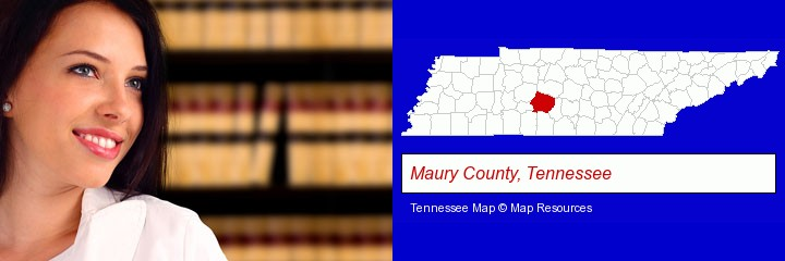 a young, female attorney in a law library; Maury County, Tennessee highlighted in red on a map