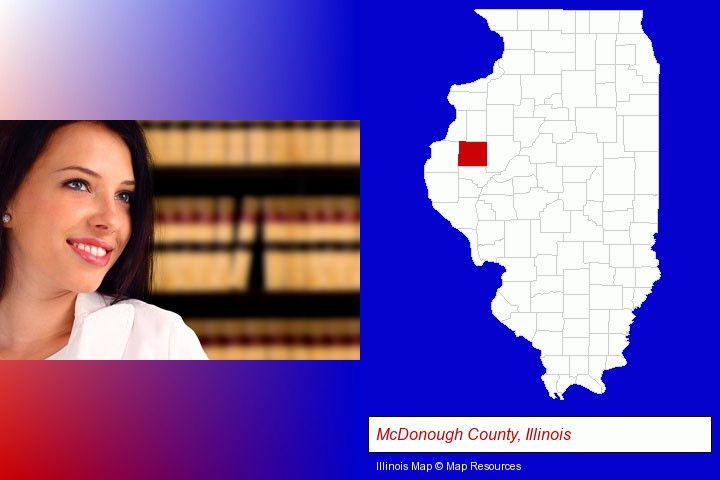 a young, female attorney in a law library; McDonough County, Illinois highlighted in red on a map