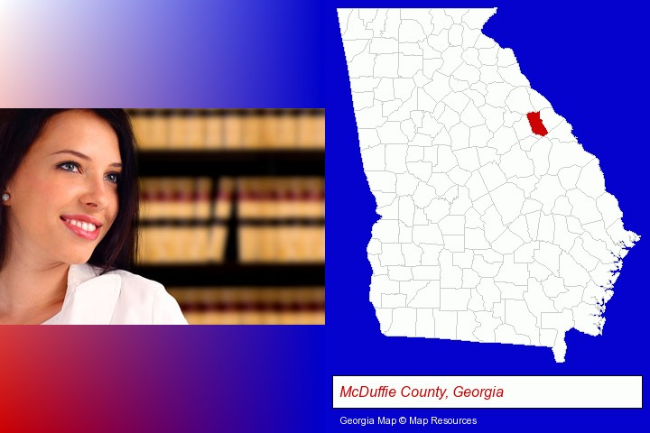 a young, female attorney in a law library; McDuffie County, Georgia highlighted in red on a map