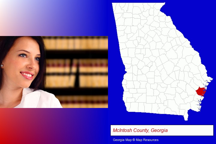 a young, female attorney in a law library; McIntosh County, Georgia highlighted in red on a map