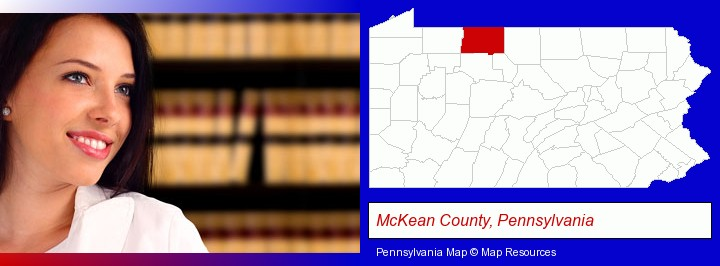 a young, female attorney in a law library; McKean County, Pennsylvania highlighted in red on a map