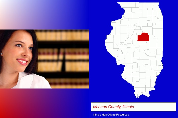 a young, female attorney in a law library; McLean County, Illinois highlighted in red on a map