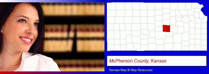 a young, female attorney in a law library; McPherson County, Kansas highlighted in red on a map