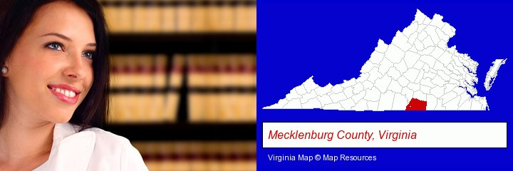 a young, female attorney in a law library; Mecklenburg County, Virginia highlighted in red on a map