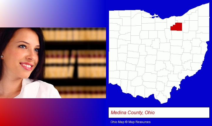 a young, female attorney in a law library; Medina County, Ohio highlighted in red on a map
