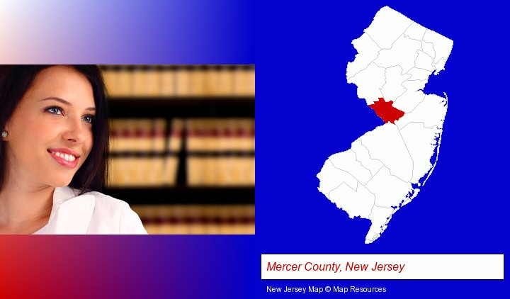 a young, female attorney in a law library; Mercer County, New Jersey highlighted in red on a map