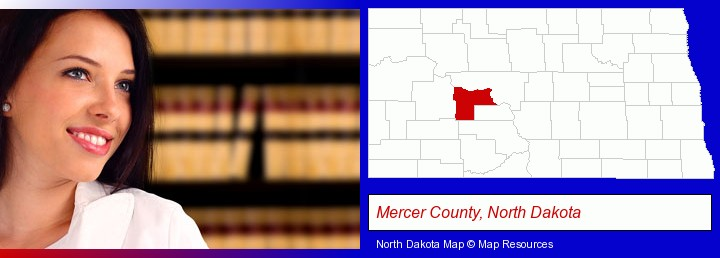 a young, female attorney in a law library; Mercer County, North Dakota highlighted in red on a map