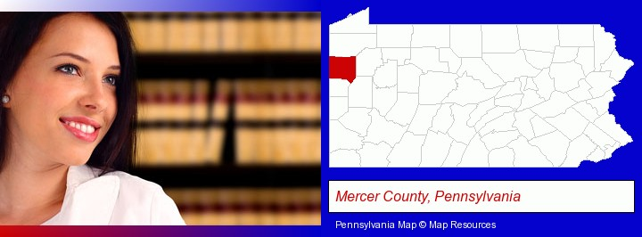 a young, female attorney in a law library; Mercer County, Pennsylvania highlighted in red on a map