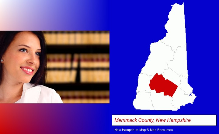 a young, female attorney in a law library; Merrimack County, New Hampshire highlighted in red on a map
