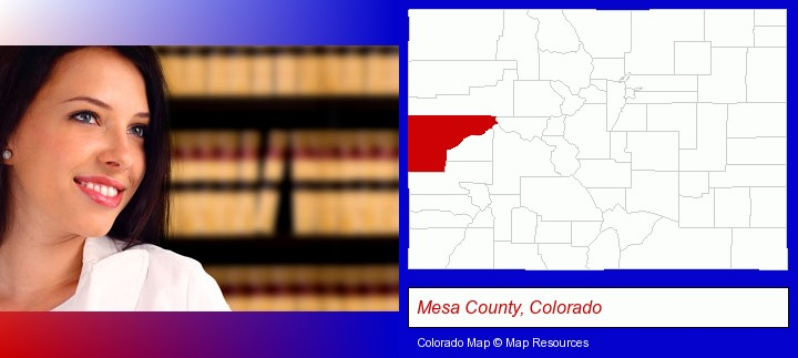 a young, female attorney in a law library; Mesa County, Colorado highlighted in red on a map