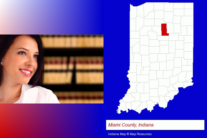 a young, female attorney in a law library; Miami County, Indiana highlighted in red on a map