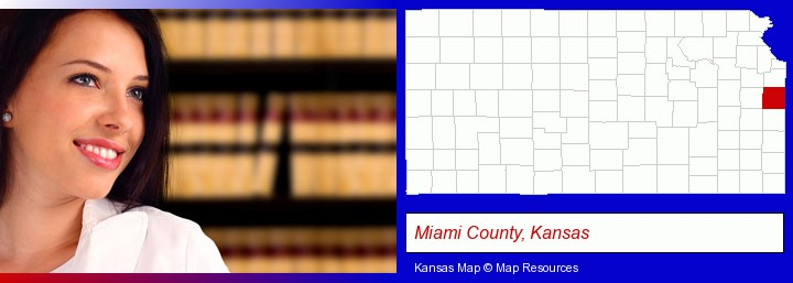 a young, female attorney in a law library; Miami County, Kansas highlighted in red on a map