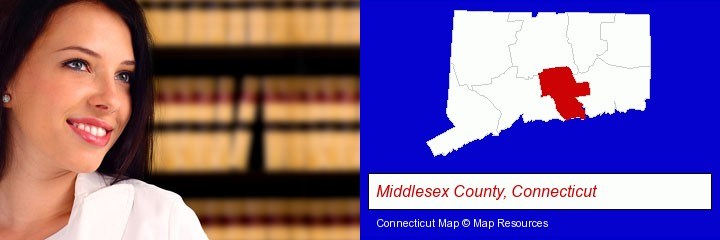 a young, female attorney in a law library; Middlesex County, Connecticut highlighted in red on a map