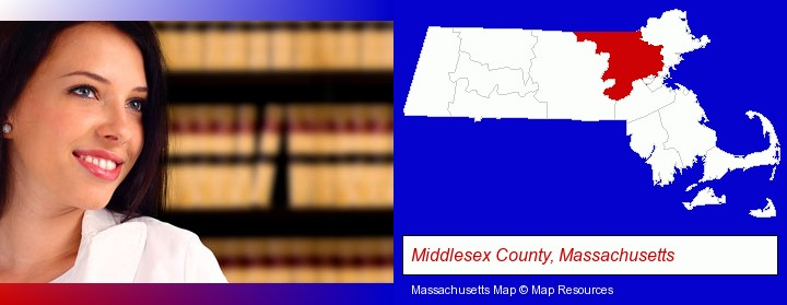 a young, female attorney in a law library; Middlesex County, Massachusetts highlighted in red on a map