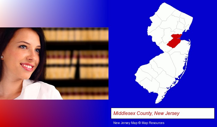 a young, female attorney in a law library; Middlesex County, New Jersey highlighted in red on a map