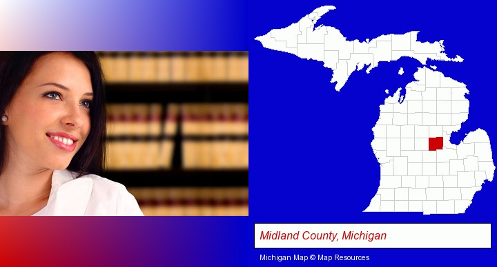 a young, female attorney in a law library; Midland County, Michigan highlighted in red on a map