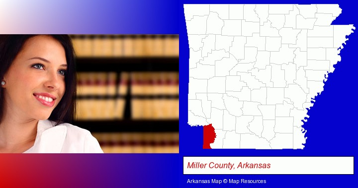 a young, female attorney in a law library; Miller County, Arkansas highlighted in red on a map