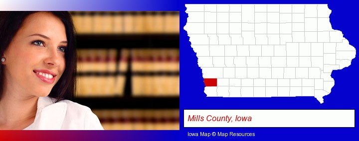 a young, female attorney in a law library; Mills County, Iowa highlighted in red on a map