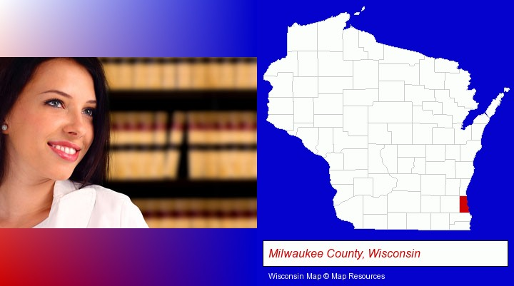 a young, female attorney in a law library; Milwaukee County, Wisconsin highlighted in red on a map