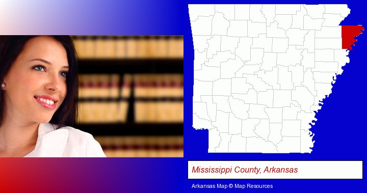 a young, female attorney in a law library; Mississippi County, Arkansas highlighted in red on a map