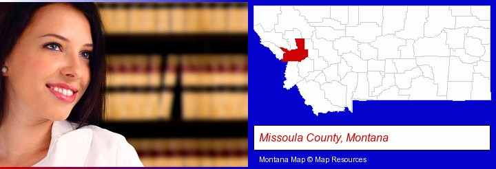 a young, female attorney in a law library; Missoula County, Montana highlighted in red on a map