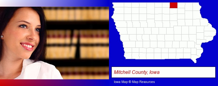 a young, female attorney in a law library; Mitchell County, Iowa highlighted in red on a map
