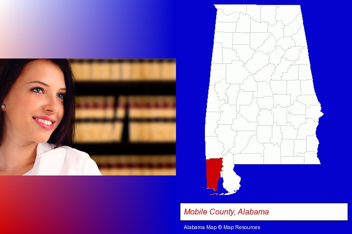 a young, female attorney in a law library; Mobile County, Alabama highlighted in red on a map