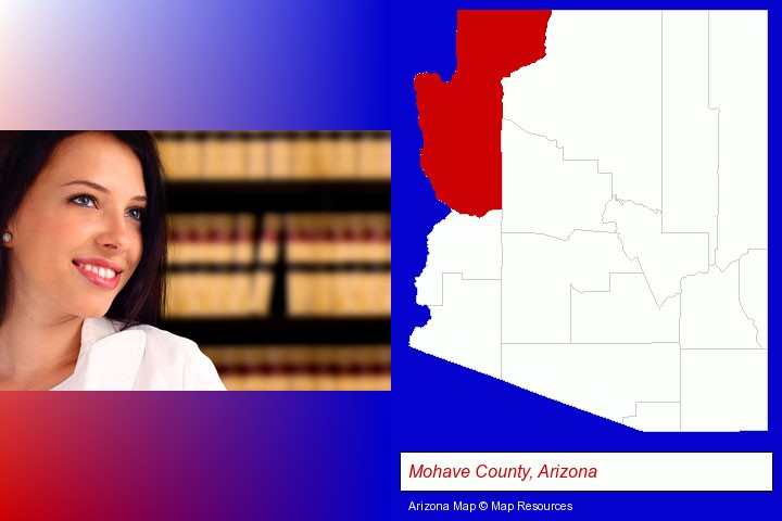 a young, female attorney in a law library; Mohave County, Arizona highlighted in red on a map