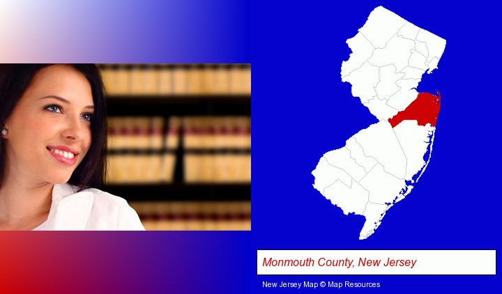 a young, female attorney in a law library; Monmouth County, New Jersey highlighted in red on a map