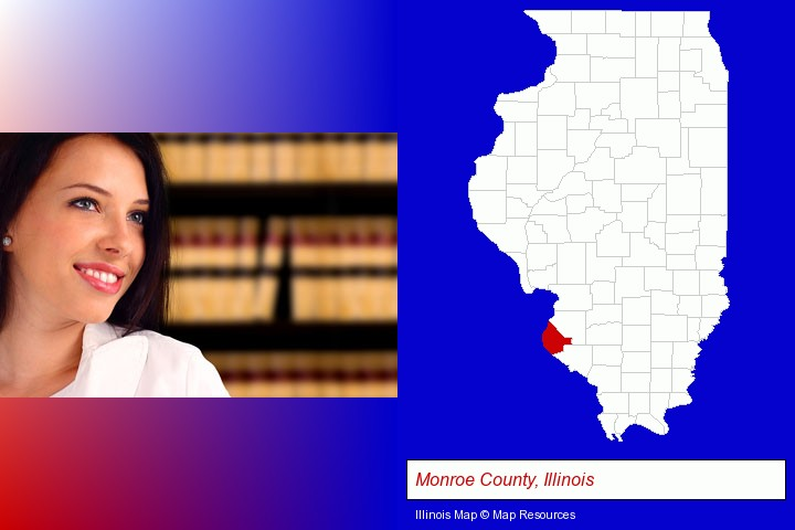 a young, female attorney in a law library; Monroe County, Illinois highlighted in red on a map