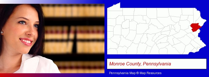 a young, female attorney in a law library; Monroe County, Pennsylvania highlighted in red on a map
