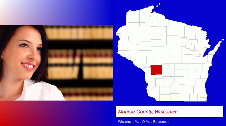 a young, female attorney in a law library; Monroe County, Wisconsin highlighted in red on a map