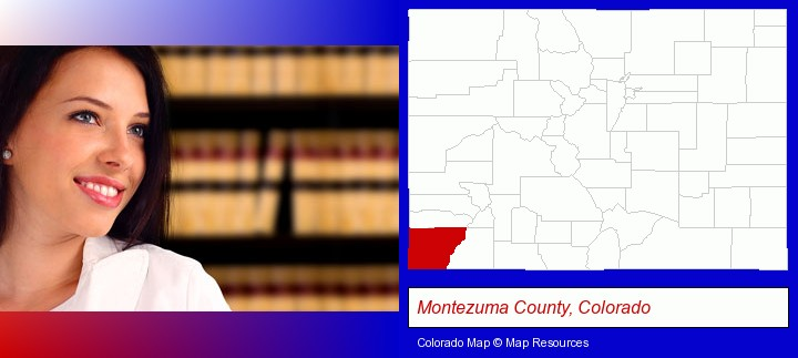 a young, female attorney in a law library; Montezuma County, Colorado highlighted in red on a map