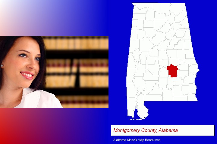 a young, female attorney in a law library; Montgomery County, Alabama highlighted in red on a map
